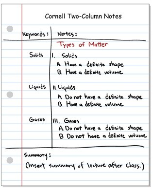 cornell two-column notes