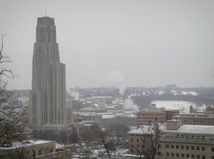 The Cathedral of Learning (in winter), second tallest education building in the world. Taken from Upper Campus.