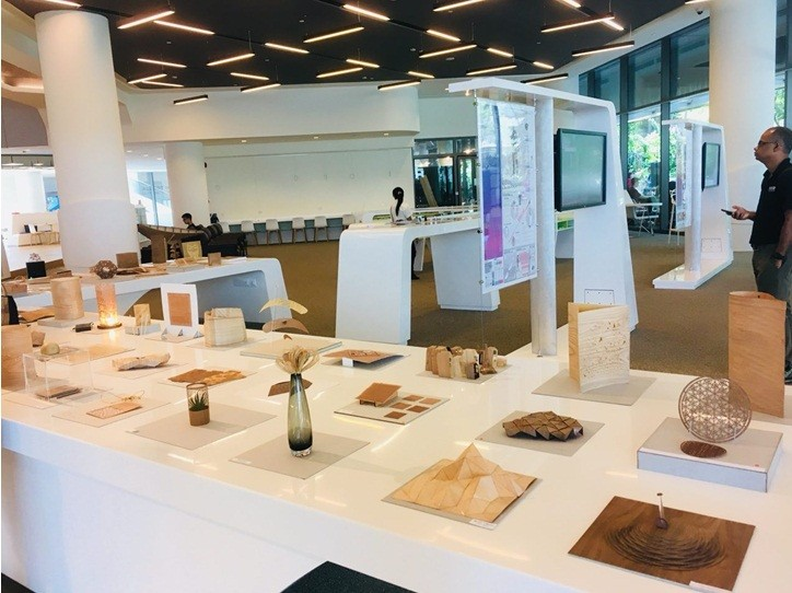 Exhibits at the library, where student works are showcased. Exhibits rotate every 2-3 weeks. These are works by students in the Architecture and Sustainable Design (ASD) pillar