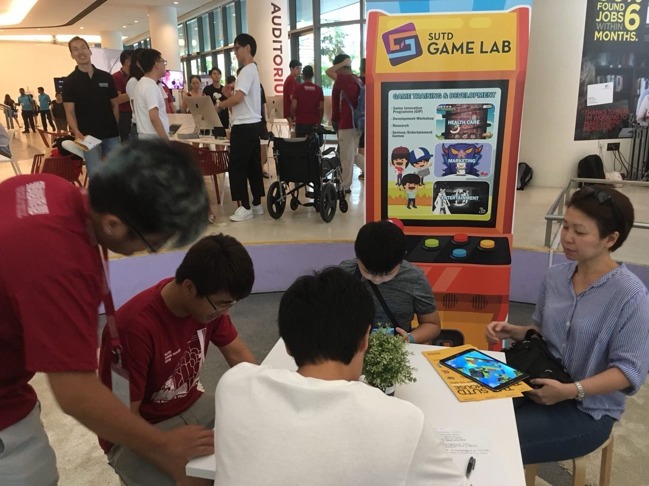 The SUTD Game Lab booth, where interested visitors got to try Kinetikos out! Check out our review here