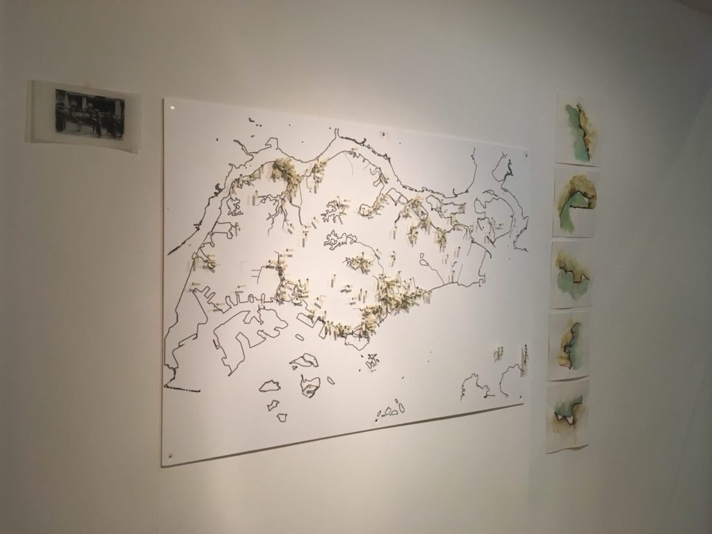 A map in the prep room for Buaya: The making of a non-myth. The map locates sightings of crocodiles in Singapore, both alleged and proven