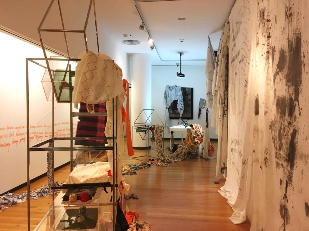 A scene of organized chaos in After Ballads. Artist Fyerool Darma, in this prep room, explores the nature of knowledge and its production through the mediums of texts, artefacts and language — and how these affect society today.