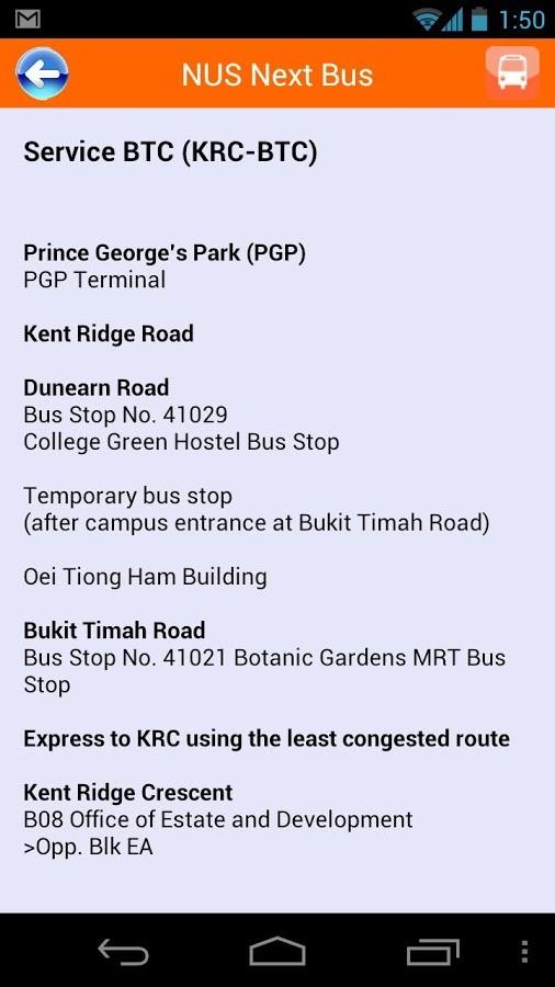 NUS Next Bus Direction