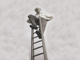 person on ladder