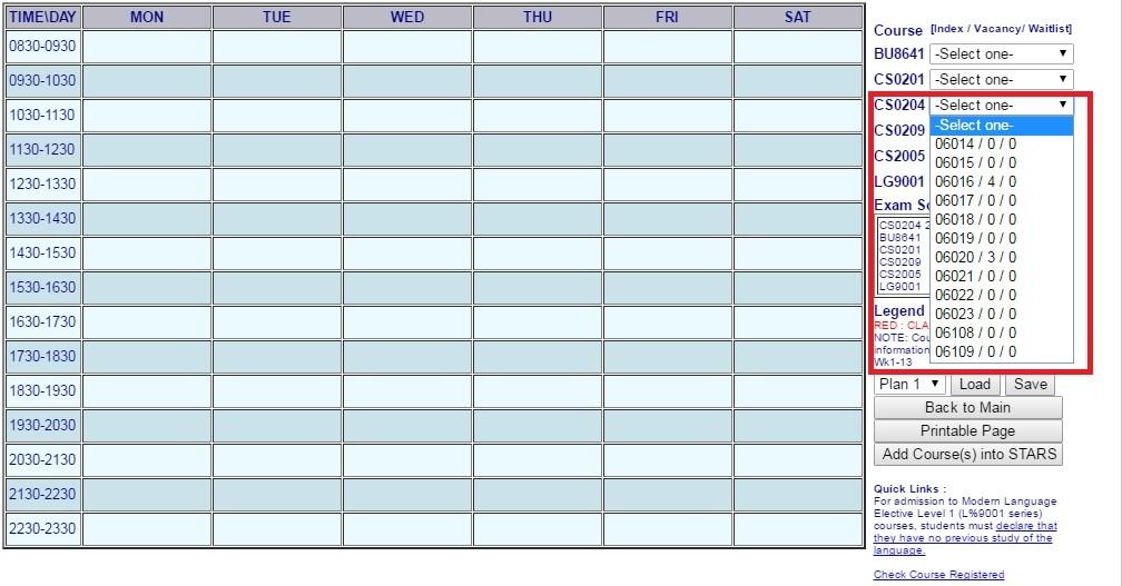course codes plan
