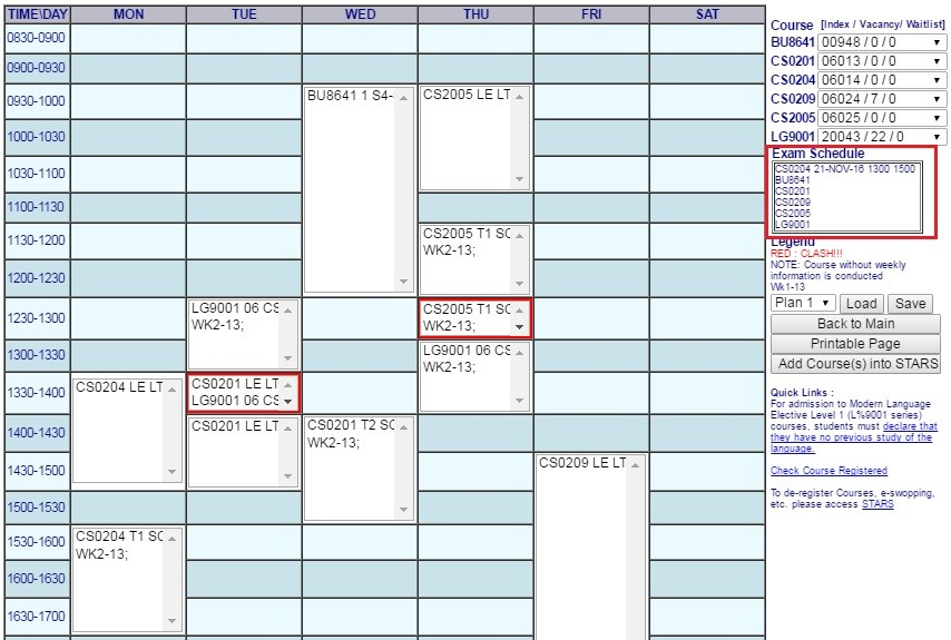 exam schedule