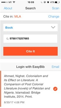 The Easybib app in action