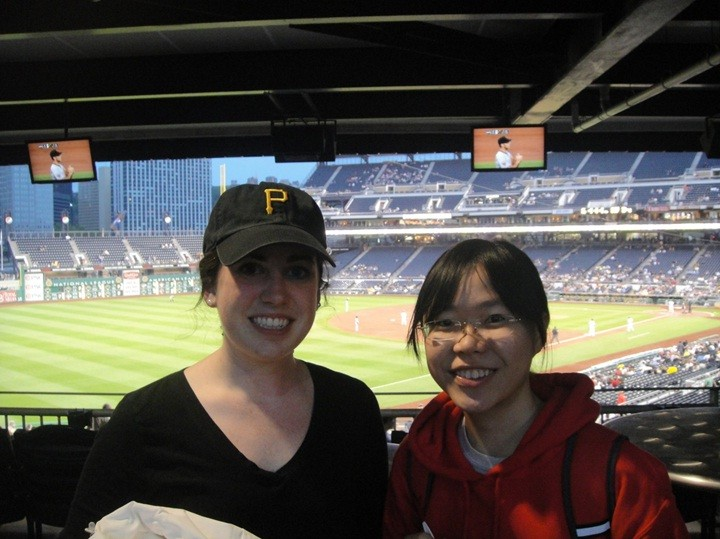 "At the baseball game of Pittsburgh Pirates vs San Francisco Giants with my roommate. It was at PNC Park (in Pittsburgh) and this was where ""Abduction"", the movie featuring Taylor Lautner, was filmed at!"
