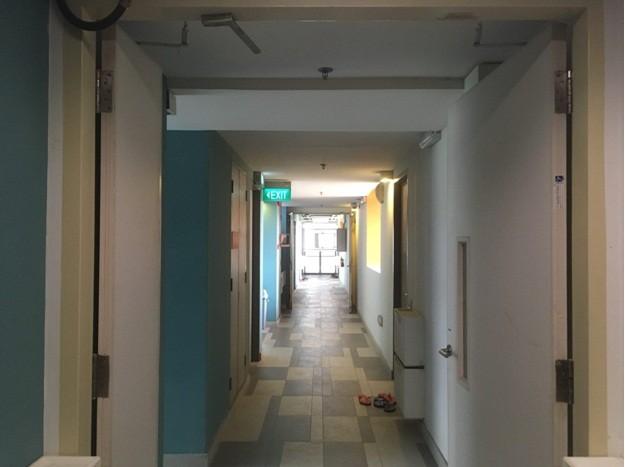 A hostel corridor