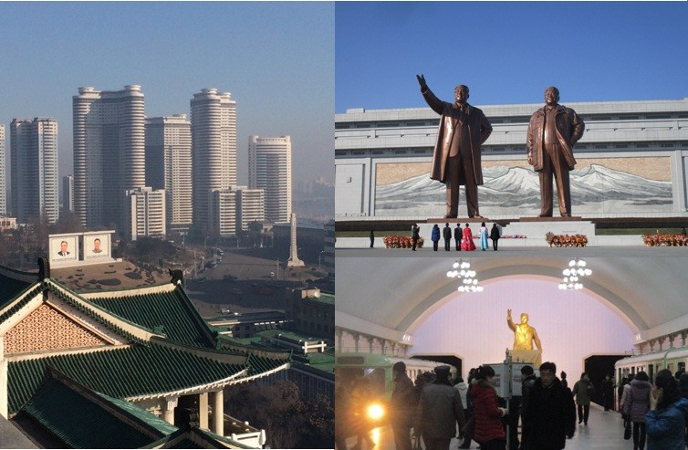 Left: View from top of the Grand People's Study House (aka central library). Top right: Grand Monument on Mansu Hill. Bottom right: Metro station.