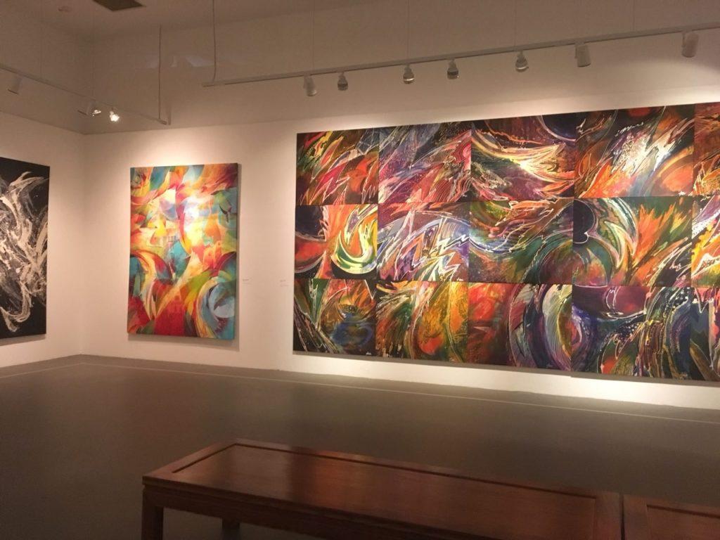 "Works of Batik artist Sarkasi Said, the ""Baron of Batik"", on display."